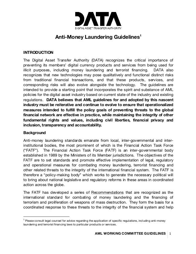 AML WORKING COMMITTEE GUIDELINES	    1	    	    Anti-Money Laundering Guidelines1 	    	    INTRODUCTION	    T...
