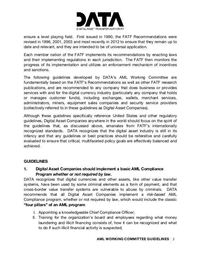 DATA Working Group - Global AML Guidelines Slide 2