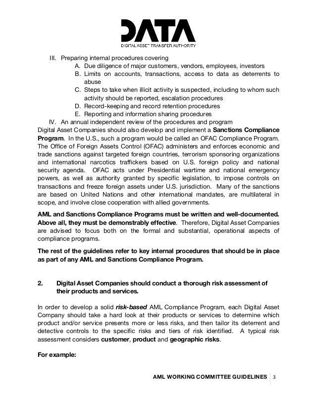 DATA Working Group - Global AML Guidelines Slide 3