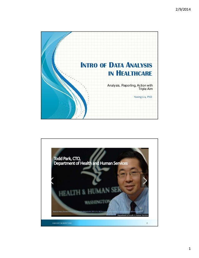 2/9/2014  INTRO OF DATA ANALYSIS IN HEALTHCARE Analysis, Reporting, Action with Triple Aim Yaxing Liu,PhD  SQLROCKET.BLOG...