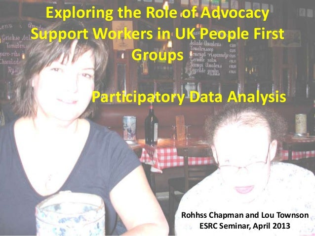 Exploring the Role of Advocacy Support Workers in UK People First Groups Participatory Data Analysis  Rohhss Chapman and L...
