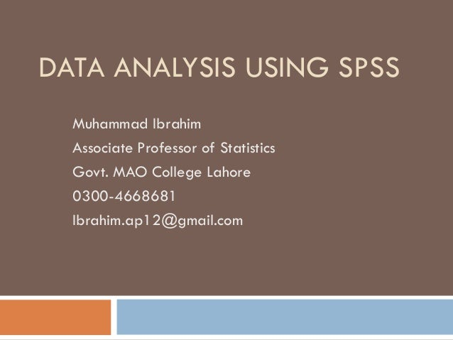 information on using spss Learn how to use spss to calculate descriptive and inferential statistics, create data visualizations like scatterplots and other charts, perform multiple-regression analysis, and more.