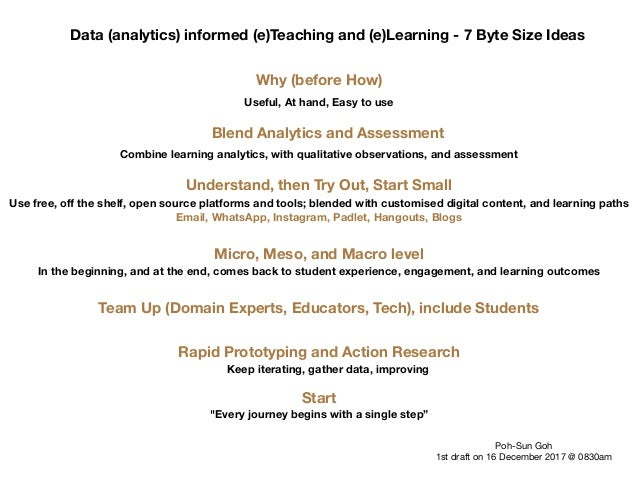 Data (analytics) informed (e)Teaching and (e)Learning - 7 Byte Size Ideas Why (before How) Useful, At hand, Easy to use Bl...