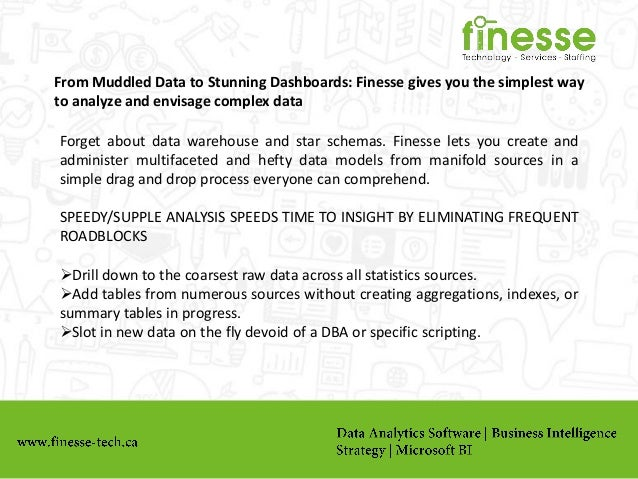 From Muddled Data to Stunning Dashboards: Finesse gives you the simplest way to analyze and envisage complex data Forget a...