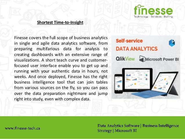 Shortest Time-to-Insight Finesse covers the full scope of business analytics in single and agile data analytics software, ...
