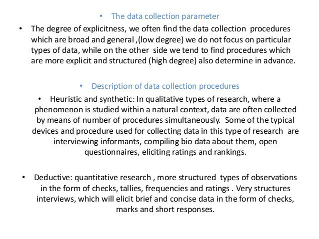 data and data collection procedures