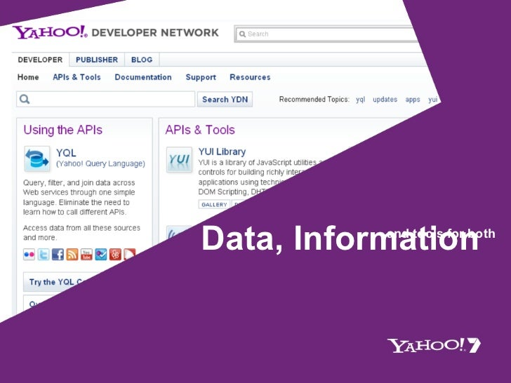 Data, Information and tools for both