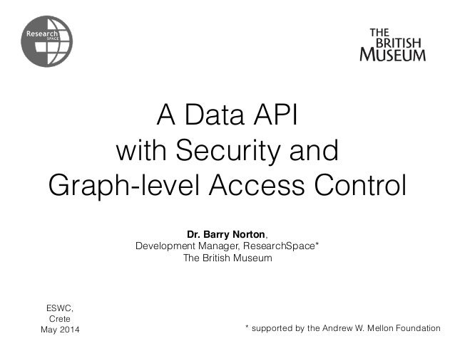 A Data API with Security and Graph-level Access Control Dr. Barry Norton, Development Manager, ResearchSpace* The British ...