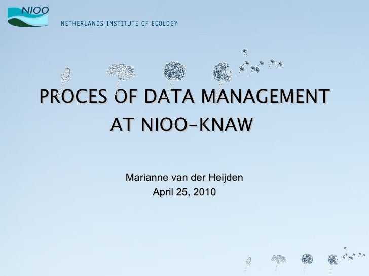 PROCES OF DATA MANAGEMENT AT NIOO-KNAW  Marianne van der Heijden April 25, 2010
