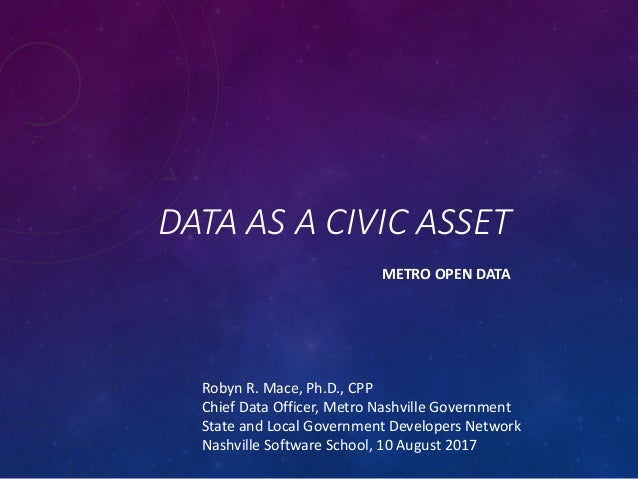 DATA AS A CIVIC ASSET METRO OPEN DATA Robyn R. Mace, Ph.D., CPP Chief Data Officer, Metro Nashville Government State and L...