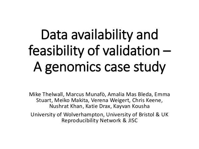 Data availability and feasibility of validation – A genomics case study Mike Thelwall, Marcus Munafò, Amalia Mas Bleda, Em...