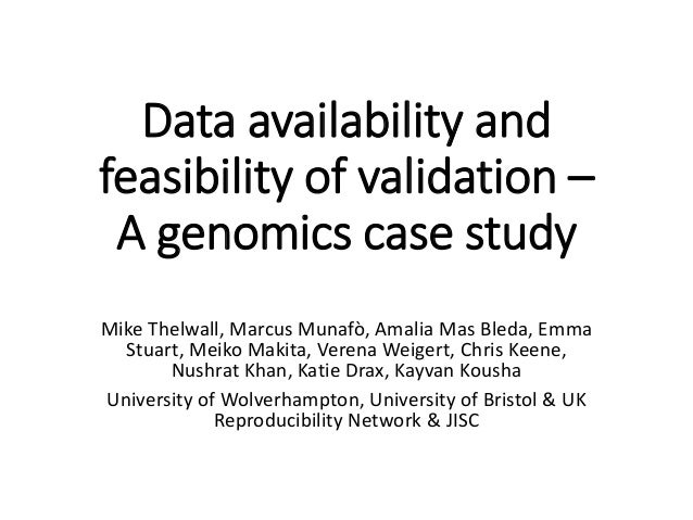 Data availability and feasibility of validation – A genomics case study Mike Thelwall, Marcus Munafò, Amalia Mas Bleda, Em...