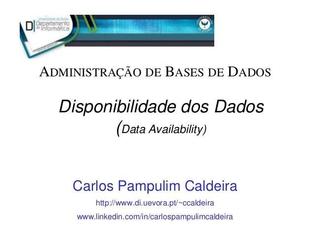 Disponibilidade dos Dados (Data Availability) Carlos Pampulim Caldeira http://www.di.uevora.pt/~ccaldeira www.linkedin.com...
