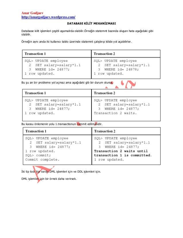 Anar Godjaev http://anargodjaev.wordpress.com/ DATABASE KİLİT MEKANİZMASI Database kilit işlemleri çeşitli aşamalrda olabi...