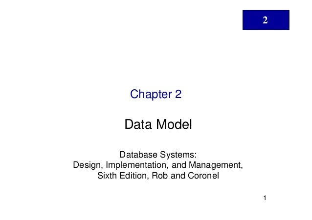 2             Chapter 2           Data Model           Database Systems:Design, Implementation, and Management,     Sixth ...