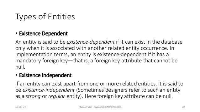 Types of Entities • Existence Dependent An entity is said to be existence-dependent if it can exist in the database only w...