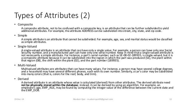 Types of Attributes (2) • Composite A composite attribute, not to be confused with a composite key, is an attribute that c...