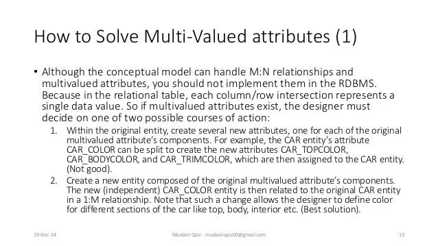 How to Solve Multi-Valued attributes (1) • Although the conceptual model can handle M:N relationships and multivalued attr...