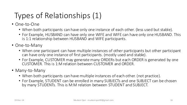 Types of Relationships (1) • One-to-One • When both participants can have only one instance of each other. (less used but ...