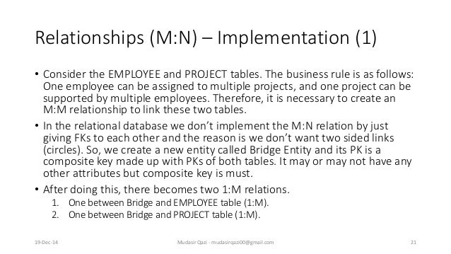 Relationships (M:N) – Implementation (1) • Consider the EMPLOYEE and PROJECT tables. The business rule is as follows: One ...