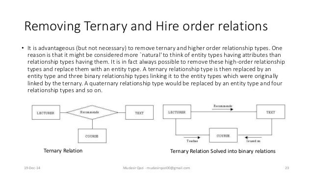 Removing Ternary and Hire order relations • It is advantageous (but not necessary) to remove ternary and higher order rela...