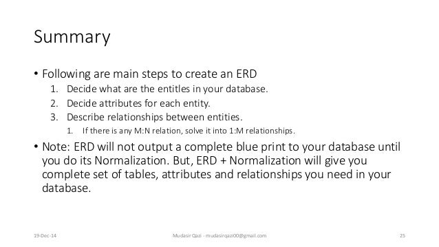 Summary • Following are main steps to create an ERD 1. Decide what are the entitles in your database. 2. Decide attributes...