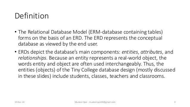 Definition • The Relational Database Model (ERM-database containing tables) forms on the basis of an ERD. The ERD represen...