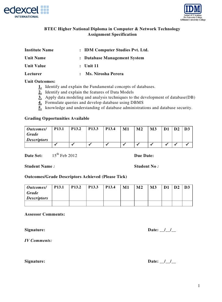 BTEC Higher National Diploma in Computer & Network Technology                               Assignment SpecificationInstit...