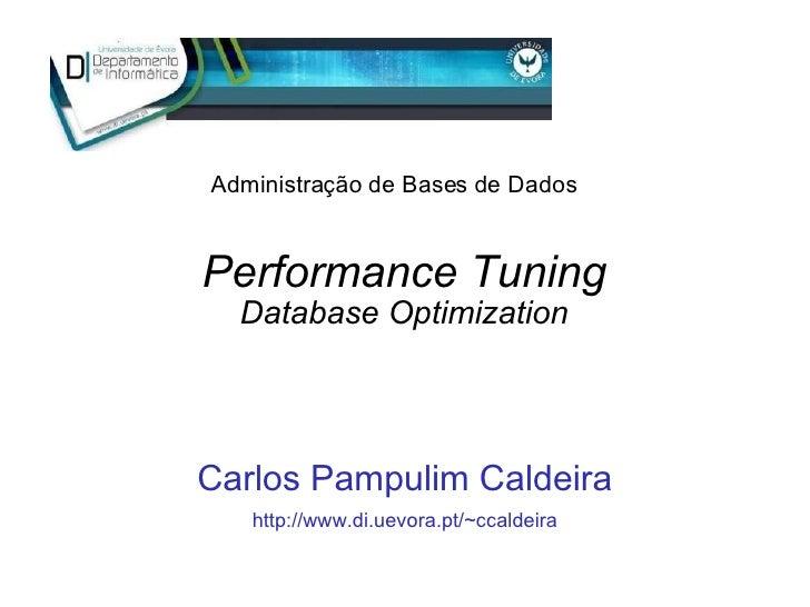 Performance Tuning Database Optimization Carlos Pampulim Caldeira http://www.di.uevora.pt/~ccaldeira Administração de Base...