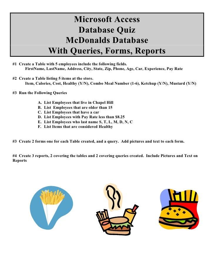 Microsoft Access                             Database Quiz                          McDonalds Database                    ...