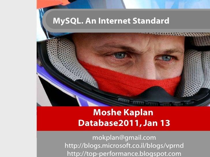 Moshe Kaplan  Database2011, Jan 13 [email_address] http://blogs.microsoft.co.il/blogs/vprnd http://top-performance.blogspo...