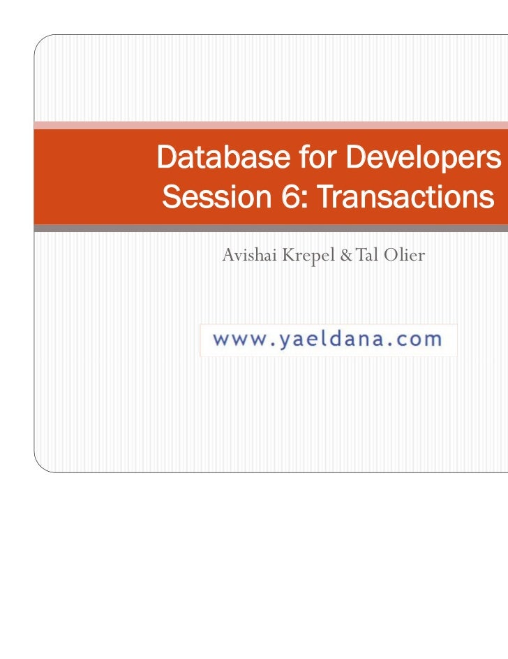 Database concurrency and transactions - Tal Olier