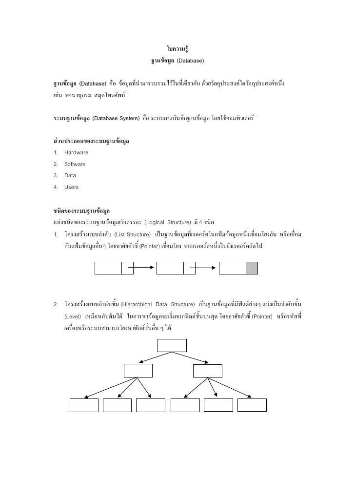 ใบความรู                                        ฐานขอมูล (Database)ฐานขอมูล (Database) คือ ขอมูลที่นํามารวบรวมไวในที่...