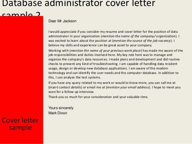 Database Administrator Cover Letter - Db administrator cover letter