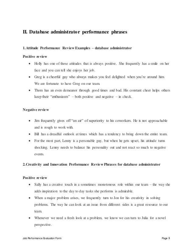 Database administrator performance appraisal – Database Administrator Job Description