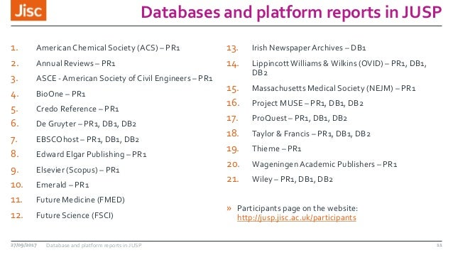 Databases and platform reports in JUSP 1. American Chemical Society (ACS) – PR1 2. Annual Reviews – PR1 3. ASCE -American ...