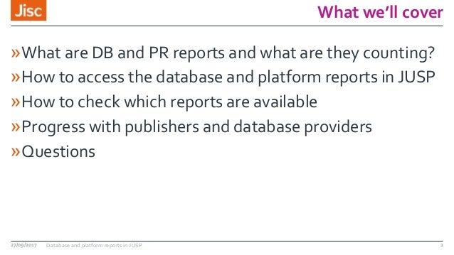 What we'll cover »What are DB and PR reports and what are they counting? »How to access the database and platform reports ...