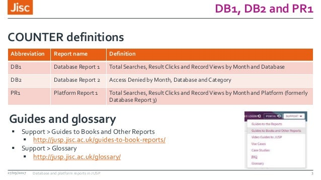 DB1, DB2 and PR1 Abbreviation Report name Definition DB1 Database Report 1 Total Searches, Result Clicks and RecordViews b...