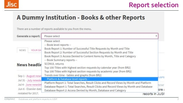 Report selection 27/09/2017 Database and platform reports in JUSP 7