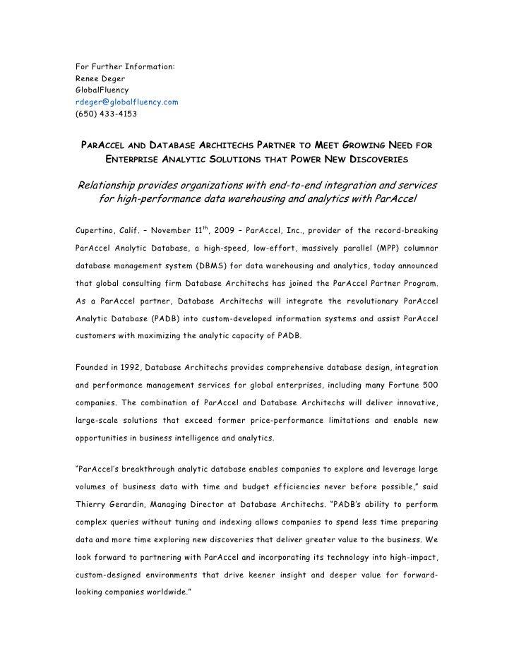 For Further Information: Renee Deger GlobalFluency rdeger@globalfluency.com (650) 433-4153    PARACCEL AND DATABASE ARCHIT...