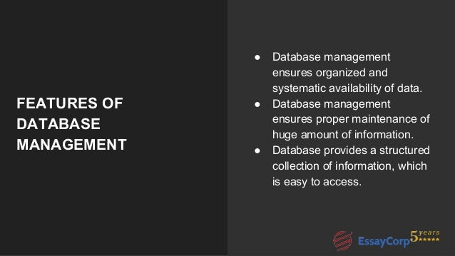 database assignment help 5 features of database