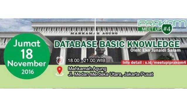 DATABASE BASIC KNOWLEDGE BY EKO JUNAIDI SALAM