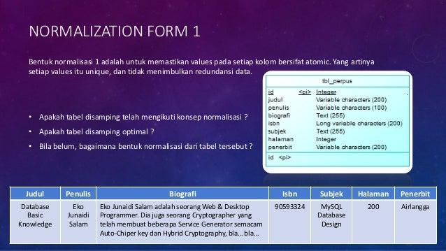 STEP 1. BUAT BENTUK NORMALISASI 1NF