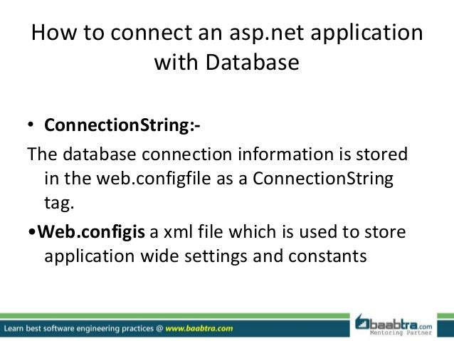 how to connect database in asp net