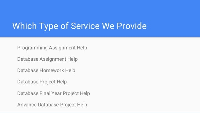 Homework help on databases