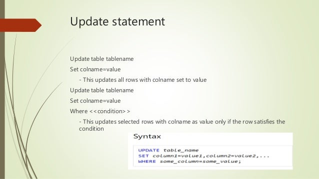 Update statement statements in Microsoft SQL Server ...  sc 1 st  SlideShare : update table set - Pezcame.Com