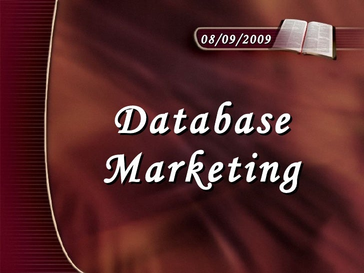 Database Marketing 08/09/2009