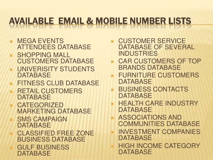 UAE Email & Mobile Number lists for marketing