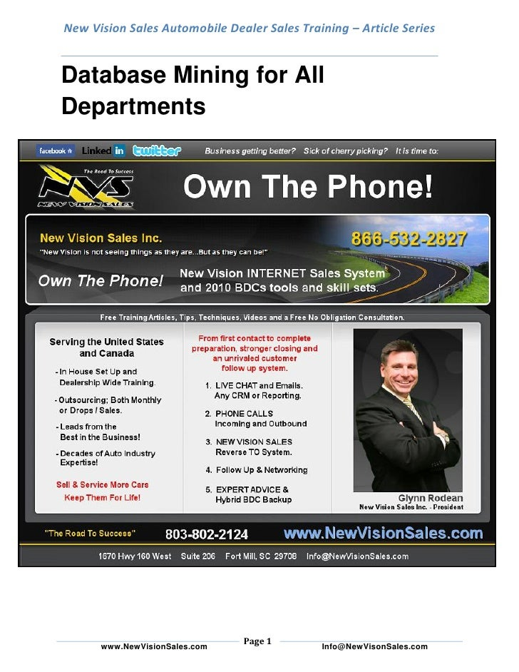 New Vision Sales Automobile Dealer Sales Training – Article Series   Database Mining for All Departments                  ...