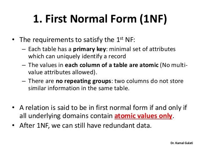 Database Normalization by Dr. Kamal Gulati